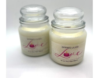 Spring lilies soy candle -SALE