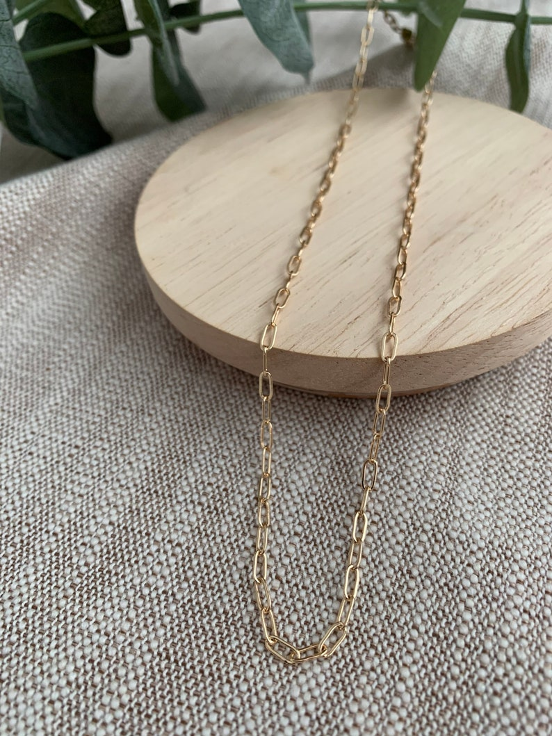 18K Gold Filled Necklace Dainty Gold Choker Necklace Mini Paperclip Chain Necklace Rectangle Chain Necklace Minimal Gold Chain Necklace
