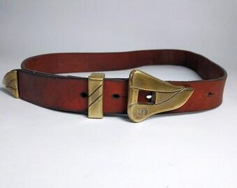 ETIENNE AIGNER Vintage Belt. Red Real Leather. 60s. GERMANY