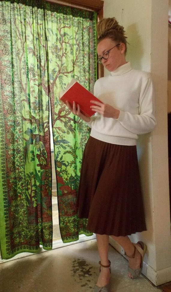 Vintage 60s 70s Skirt,Long Pleated Circle Skirt,Kn
