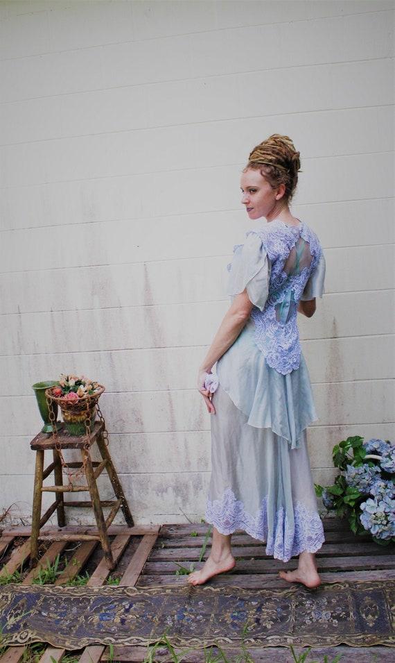 80s Does Victorian/Edwardian Style Blue Silk Weddi