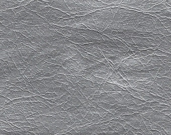 BTY metallic silver vintage auto vinyl w/leather like grain
