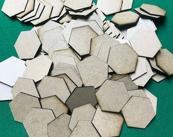 30mm/1.25' hex bases - 3mm thick MDF - Lasercut