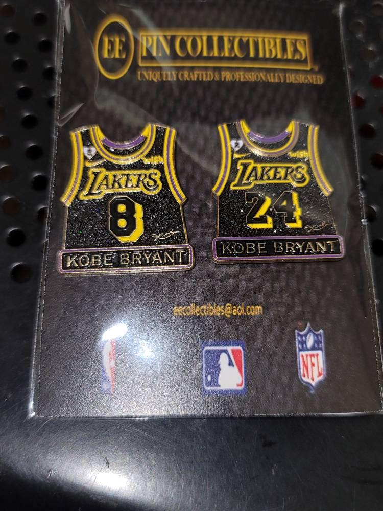 Los Angeles Lakers Kobe Bryant Pure MAMBA Black Snake Skin Design #8 & #24 Jersey Lapel Pin Set Gigi Patch