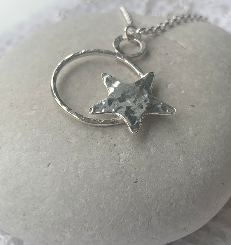 Sterling Silver Open Heart with Star Necklace image 1