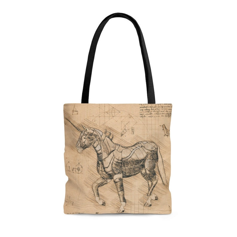 Vintage Inspired Tote Bag Everyday Bag Unicorn Steampunk Drawing Tote Bag