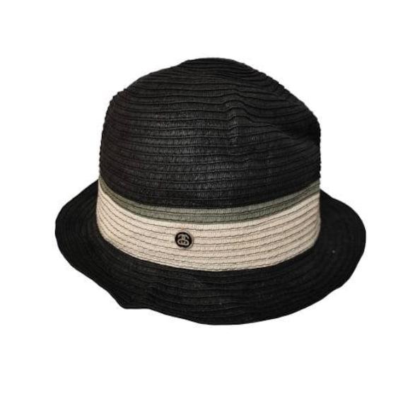 Authentic Stussy Paper Straw Hat Cap Black Color