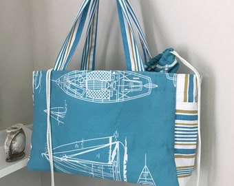 knit Tote bag large shoulder bag tote bags embroidery Canada sewing Quebec