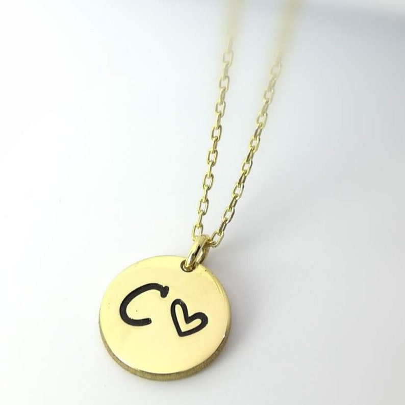 Personalized Disc Engraved Necklace Sterling Silver Initial Disc Pendant Initial Tag Personalized Gift Her