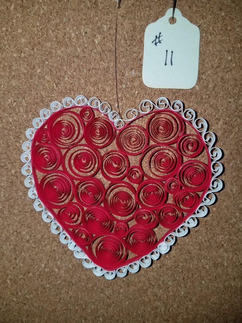 Quilled 3 inch Heart with Lace #11