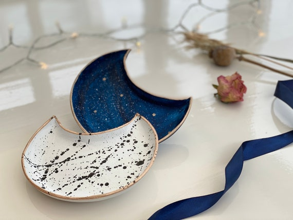 Crescent moon jewelry dishes