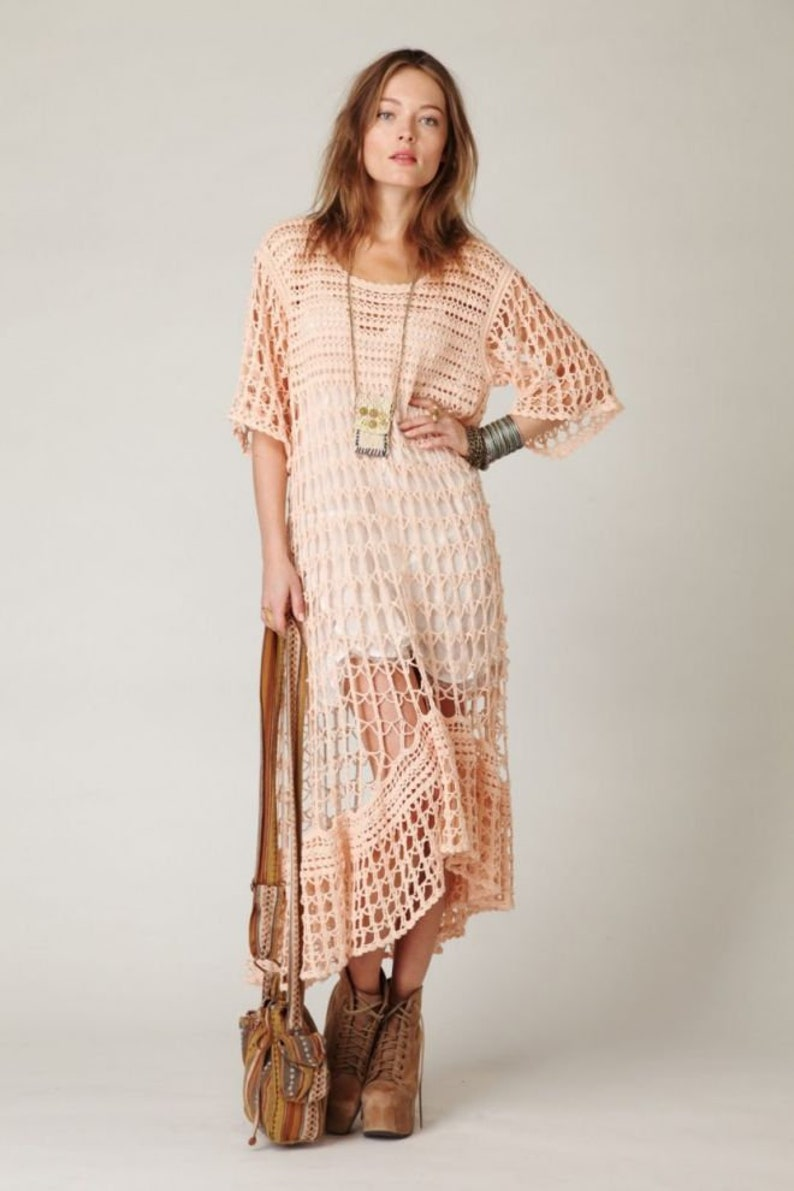 Crochet long dress Elegant dress Handmade dress Knit dress Party dress Bohemian style Beach party