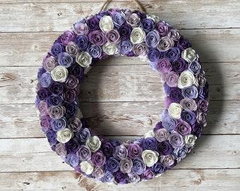 Paper flowersTangerine flowerscoral flowersteal flowerscream flowerscoral and teal paper flower wreath