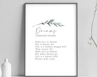 Dreams | Langston Hughes | Poem | Literature | Motivation | Inspiration | Print | Wall Art | Minimalist | Quote | INSTANT DOWNLOAD