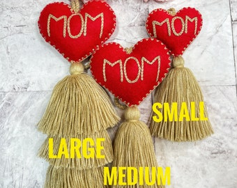Exclusive! Mom heart pompom with tassel, hand embroidered ( three sizes )