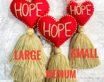 Hope heart pompom with tassel gift, hand embroidered ( three sizes )