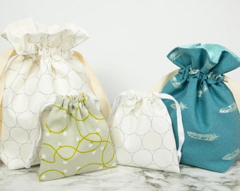 Super Simple Drawstring Bag - Sewing Kit (Assorted Metallic Prints)