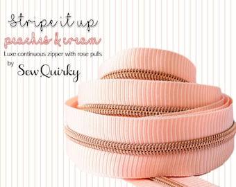 Stripe It Up Peaches & Cream Zipper By Sew Quirky