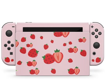 Cute strawberry nintendo switches skin ,Pink switch skin Full cover 3m