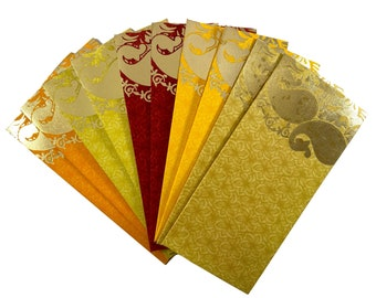 Gold Border Design on White Pack of 25 Asian Indian Gift Money Envelopes
