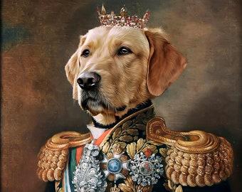 Custom Pet Portrait Painting Canvas, Renaissance Dog Portrait from Photo, Royal Pet King Portrait Painting Digital Art, Portrait Art Design