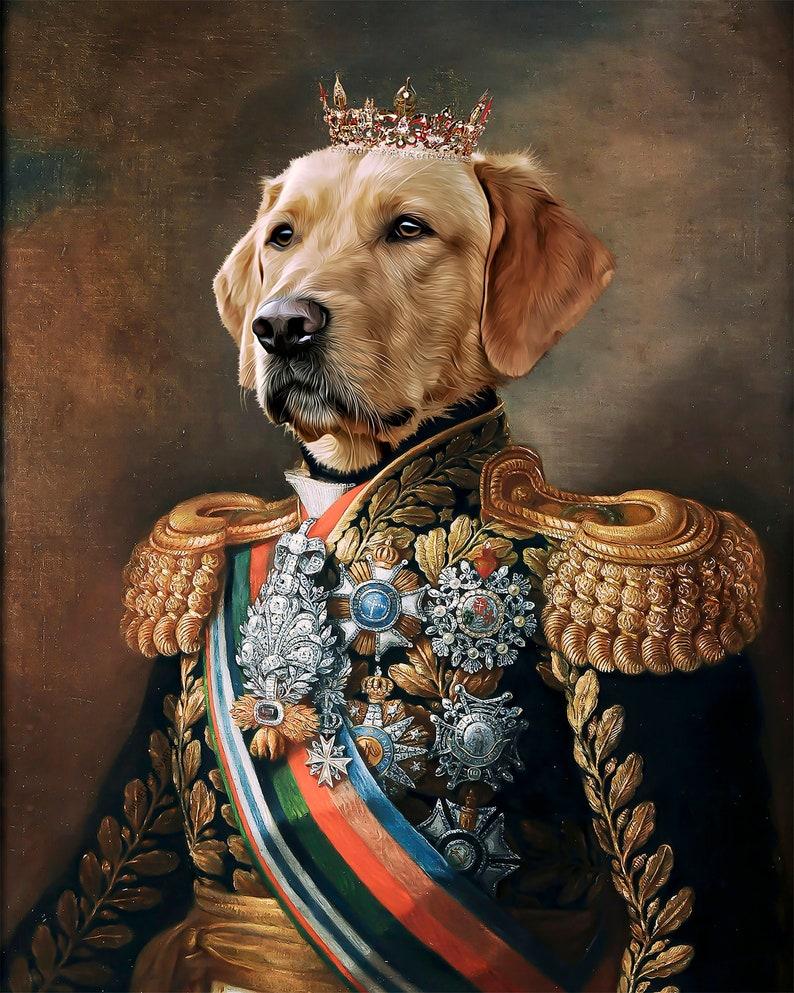 Custom Pet Portrait Painting Canvas Renaissance Dog Portrait image 0