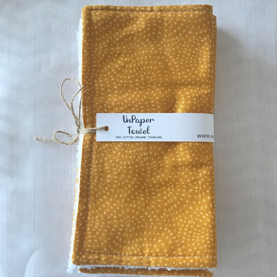 Mustard Coloured Reusable UnPaper Towels