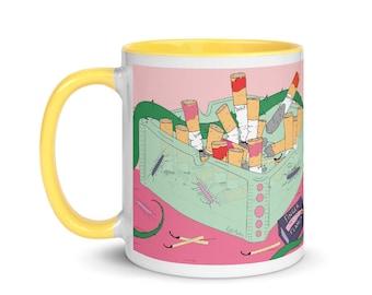 Coffee and Cigarettes Mug   FREE US SHIPPING   11oz mug bright and colorful design   Unique Mug   Ceramic mug   Weird mug   Funny Mug  