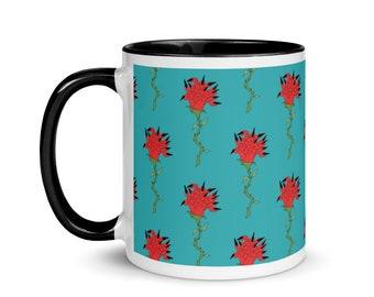 Creepy Rose Mug   FREE US SHIPPING   Ceramic Mug   Unique Tea Mug   Weird Mug   Fun Mug   Colorful Coffee Mug