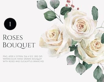 Watercolor floral clipart. Roses watercolor clip art. Watercolor Bohemian Bouquet. leaves botanical bouquet flowers eucalyptus PNG. Boho