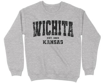 Wichita, Kansas Sweatshirt. Wichita, KS Vintage Unisex Crewneck Sweatshirt.