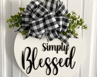 Blessed front door decal mesh wreath black and white with red deco mesh front door wreath Jabez prayer of blessing wreath.