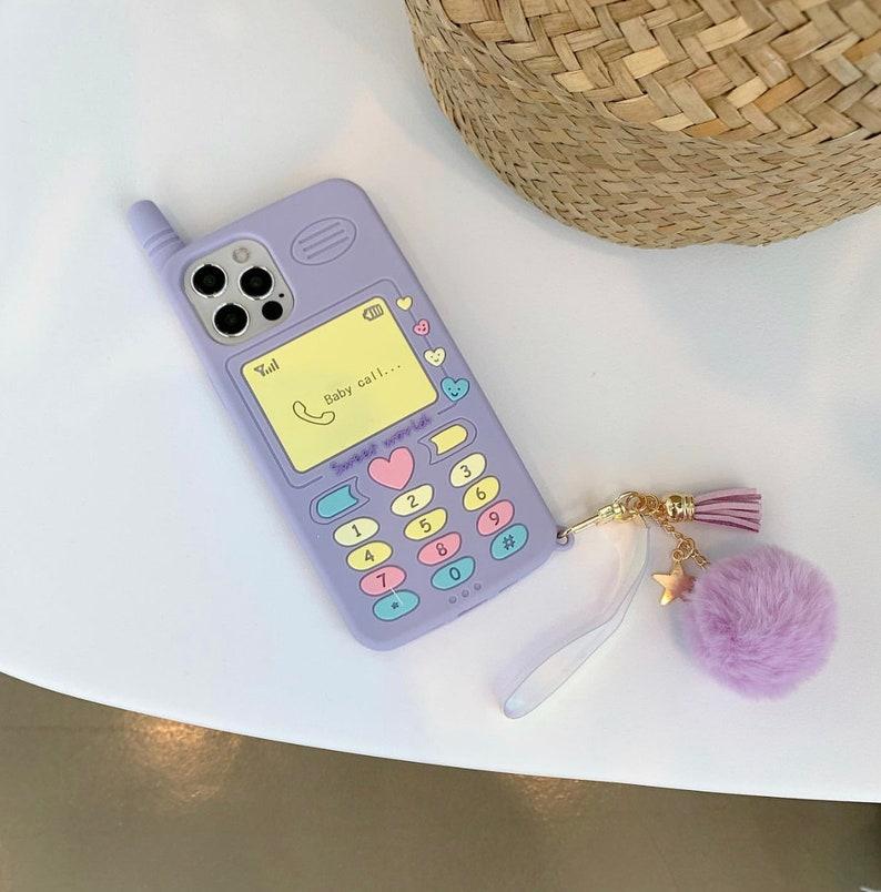 iPhone Case Retro Lavender Baby Call Phone Case Soft Silicon Non Slip Case With Cute Pompom