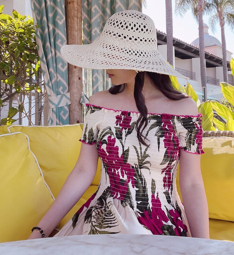 Hawaiian Hibiscus Flower Print Elastic Cap Sleeve Smoked Dress for Vacation Braid Maid  One Size  Comfortable Easy Dresses For Vacation