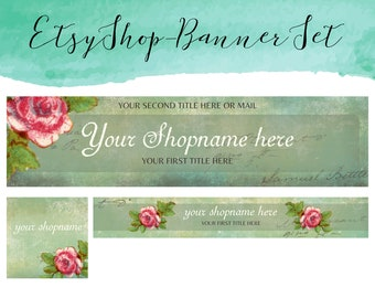bird cage,sewing,flowers,green Etsy Shop Banner Set shop icon,new etsy coverbanner