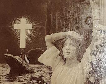 Titanic Love  Sea Storm  Year 1912  Edwardian Nautical Couple  Dramatic Passionate Scene  Original Antique  French Rare Postcard
