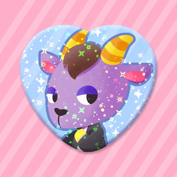 Bunnie Animal Crossing Cute Metal Sparkly Star Holographic Heart Button