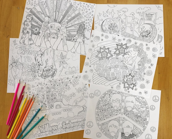 The Beatles Coloring Pages For Adults Instant Pdf Download 6 Etsy