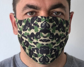 Face mask, face shield, face cover, fashion, washable, reusable,Designer, Ape,  triple layer, polyester