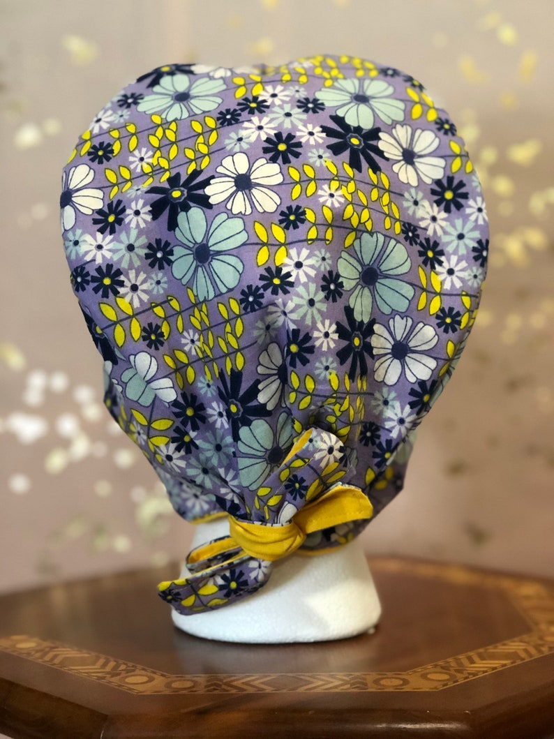 Surgical Cap Yellow Blue Floral with Fabric Ties Buttons Optional Women Style Nurse Cap Dental Cap One Size Fits Most Ready to Ship