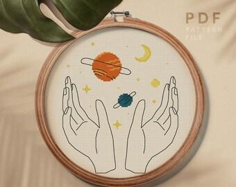 Scrapbag Stitcheries  Pattern Hand Embroidery Cat Alphabet Flowers Moon Stars Kindred Spirits