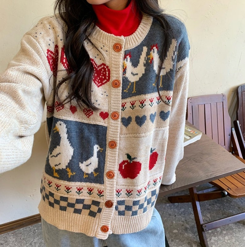Women/'s Korean Style Autumn Winter Chicken O Neck Knitted Cardigan Female Jacket Sweater Coat Casual Farmer Knit Jacket Sweater For her