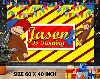 one birthday banner monkey theme going bananas Curious George first birthday banner