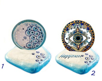 Personalized marble stone decor Evil eye table ornament Greek evil eye amulet for home Unique gift for new home decoration Evil eye talisman