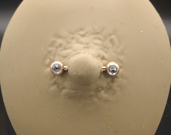 Jewelled nipple bars, rose gold plate on 316 stainless steel for 1.6mm/14g x 12mm, 14mm and 16mm piercings