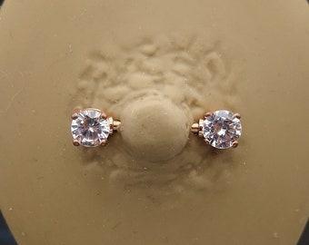 Stunning ANGEL WINGS Clear Crystal Nipple Bar Barbell Piercing Gem 1.6mm x 14mm