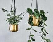 Small Brass Hanging Planter