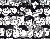 People Faces Patterned Upholstery Decorative Monocolor Black White Fabric by the Yard