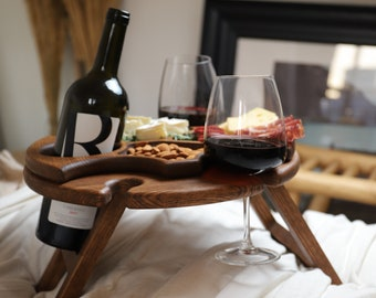 Folding Wine Table - Handmade Outdoor Wine Table -Portable Wine Table -Picnic Table-Wine Bottle Holder-Wine Carrier-Patio Table-Glass Holder