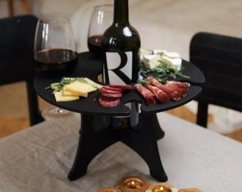 Handmade Outdoor Wine Table -Portable Wine Table -Picnic Table-Wine Bottle Holder-Wine Carrier-Patio Table-Glass Holder